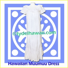 Palm Tree White Hawaiian Muumuu Dress - 472White