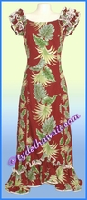 Tropical Leaf Panel Hawaiian Island Dress - Red