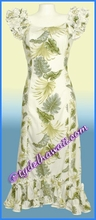 Tropical Leaf Panel Hawaiian Island Dress - white