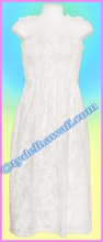 Full Length White Hawaiian Smock Dress - 213White
