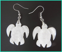 White sea turtle Mother of pearl earrings