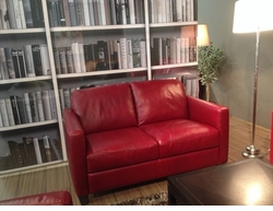 B591 Loveseat in Red Leather