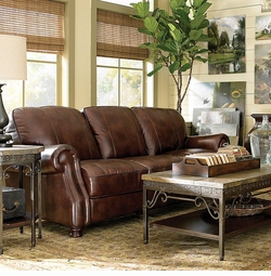 Bradford Leather Sofa by Bassett Furniture