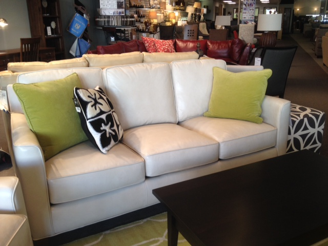 Bradington-Young White Leather Sofa