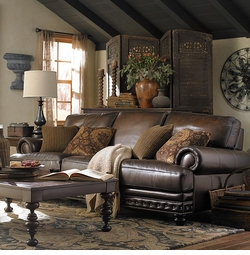 Callahan Leather Sofa by Bassett Furniture