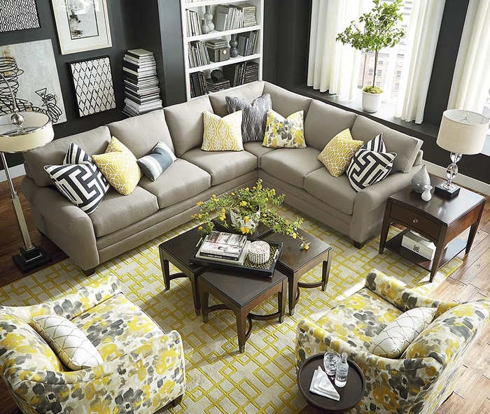 Cu2 L Shaped Sectional Sofa By Bassett Sectional Sofas
