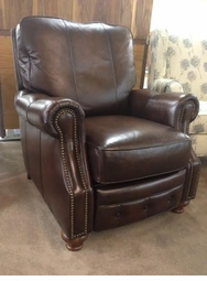 Flexsteel Leather Recliner with Nailheads Floor Model
