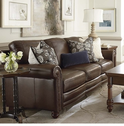 Hamilton Leather Sofa by Bassett Furniture