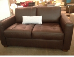 Italsofa Brown Leather Loveseat Floor Model