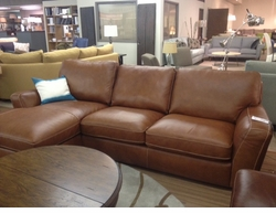 Leather Sectional with Chaise by Natuzzi Editions