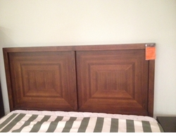 Marquetry Pattern Headboard Bed