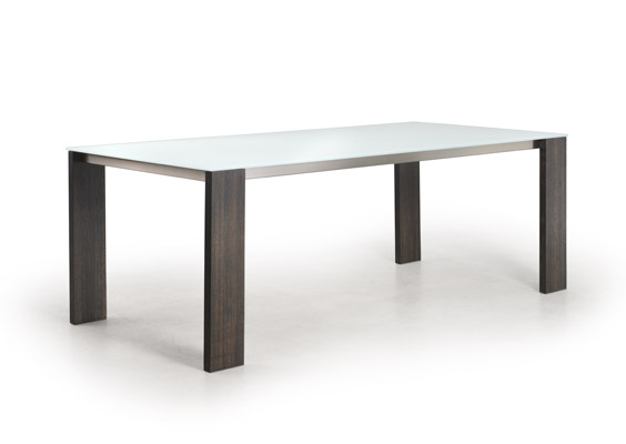 Modern Glass Top Dining Table With Wood Legs Dining Tables