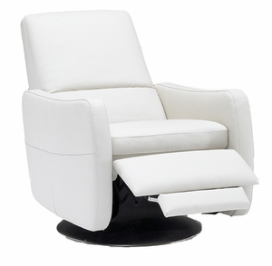 modern swivel press back leather recliner by italsofa