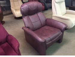 Norwegian Burgundy Leather Large Recliner
