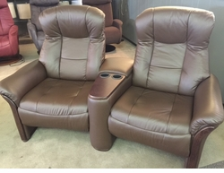 Norwegian Leather Reclining Loveseat