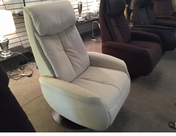 Norwegian Raana Ivory Push Back Swivel Recliner