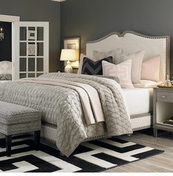 Presidio Upholstered King Size Bed and Nightstand