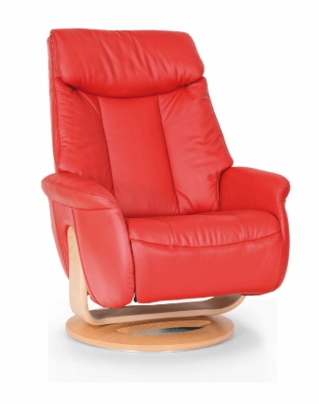 Slogan Large Swivel Recliner in Red Leather