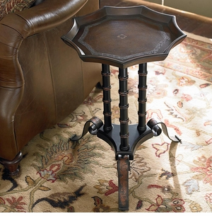Tooled Leather Pie Table by Bassett Furniture
