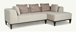 Velvet Modern Sectional with Wood Base by Younger