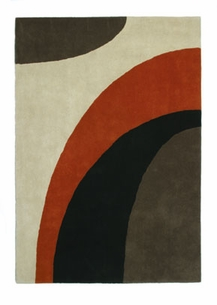 wave contemporary orange rug