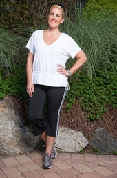 Plus Size Activewear - Always For Me Active Micro Poly Stripe Capri #3827A - PANTS ONLY- Black/White ON SALE $29.50