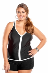 Always For Me Bay View Plus Size Swimsuit #6303 - Black/White $79