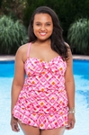 Women's Plus Size Swimwear Always For Me Chic Prints Chatham 2 Piece Twist Tankini w/ Foil Shimmer