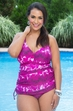 Always For Me Chic Prints Batik Side Cinched Plus Size Swimsuit Style #89788 - PLUM - ON SALE $44.50