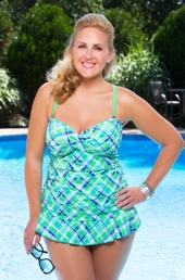 Women's Plus Size Swimwear - Always For Me Chic Prints Chatham 2 Pc Twist Tankini w/Foil Shimmer #80880 - Lime $66.75