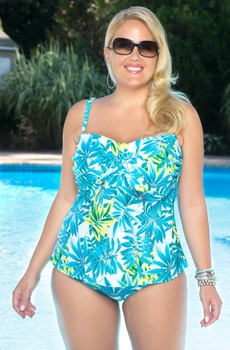 Plus Size Swimwear - Always For Me Chic Prints Palm Island Tankini