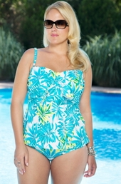 Always For Me Chic Prints Palm Island Plus Size Tankini