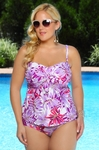 Plus Size Swimwear - Always For Me Chic Prints Palm Island Tankini w/Foil Shimmer