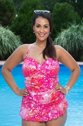 Always For Me Chic Prints Swimwear Kiki Foil 2 Pc Tankini w/ Brief Style #855044 - Fuchsia/Silver - ON SALE $66.75