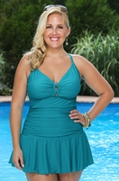 Women's Plus Size Swimwear - Always For Me Chic Solids Illusion Swimsuit - #67165W - Teal $89