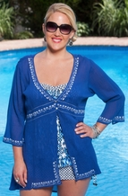 Always For Me Cover Gauze 3/4 Sleeve Cover Up - Denim/White $59