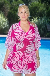 Plus Size Cover Ups Always For Me Cover Palm Leaf Tunic #3552X - Fuchsia - ON SALE $20.00