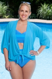 Plus Size Cover Ups Always For Me Cover Sheer Cover Up Jacket #1177X - Turq $24.50