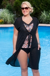 Plus Size Cover Ups Always For Me Cover Tie Front Cover Up #1112X - Black ON SALE $25