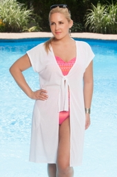 Plus Size Cover Ups Always For Me Cover Tie Front Cover Up # 1112X - White $39