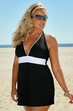 Always For Me In Control - Hilo Halter Swimdress #IO4519-08X - BLACK/WHITE $66.75