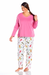 Always For Me Long Sleeve Plus Size Pajama Set #15212X - Pink/Cats $24.00