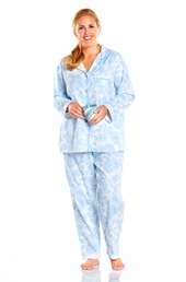 Always For Me Notched Collar Plus Size Pajamas #132112X - Blue $23.00