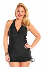 Always For Me Retro Halter Plus Size Swimdress #79373wa - BLACK $95