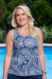 Plus Size Swimwear Always For Me Sport Paisley Racer Back Top
