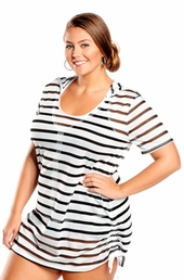 Always For Me Textured Stripe Plus Size Cover Up
