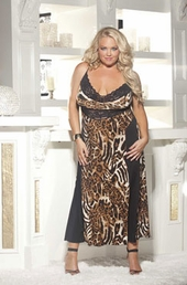 Plus Size Lingerie Animal Long Knit Gown