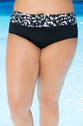 Plus Size Swimwear Beach House Separates Ocean Breeze High Waist Brief #80072 - Black $42.75