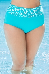 Plus Size Swimwear Beach House Separates Ocean Breeze High Waist Brief #80072 - Aruba $19.50