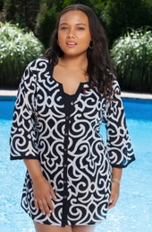 Plus Size Cover Ups Always For Me Cover Button Down Scroll Tunic